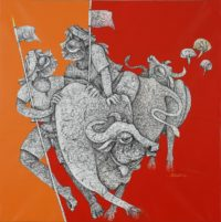 Mahavir Verma -Untitled X -Ink & acrylic on Canvas -30 x 36 (2)