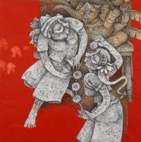 Mahavir Verma -Untitled X -Ink & acrylic on Canvas -36 x 36 (2)