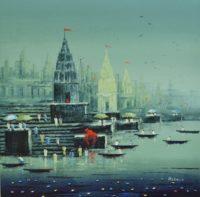 4. MS. REBA MANDAL, Ganga Ghats, Acrylic on Canvas, Size = 30