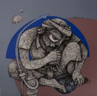 Mahavir Verma, Mixed media on paper, 18 x 18 inch