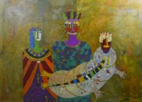 Yashwant,singh,Untitiled,Medium,-Charcole On Paper ,Size 63x31inch